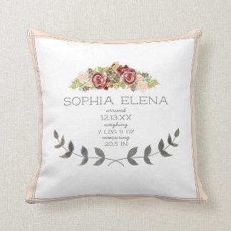 BOHO Modern Rose Flora lLaurel Leaf Birth Stat Throw Pillow