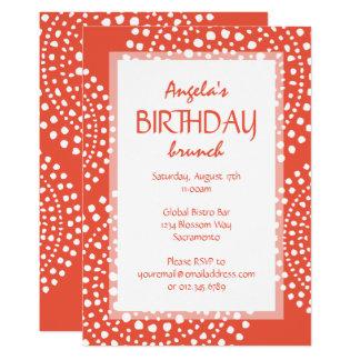 Boho Mosaic Tribal Birthday Orange Card
