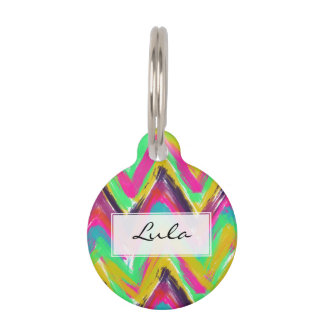 Boho mustard pink oil paint chevron pattern pet tag