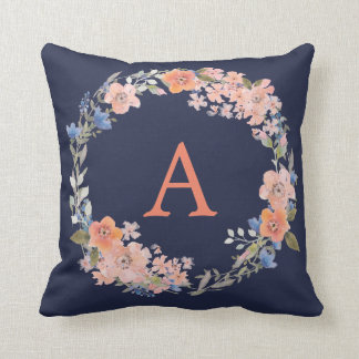 Boho Navy and Peach Monogram Floral Wreath Pillow