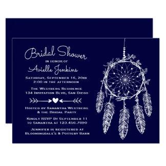 Boho Navy Blue Bridal Shower Dream Catcher Tribal Card
