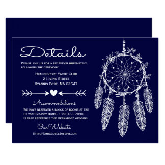Boho Navy Blue Details Dreamcatcher Tribal Wedding Card
