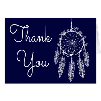 Boho Navy Blue Thank You Dream Catcher Card