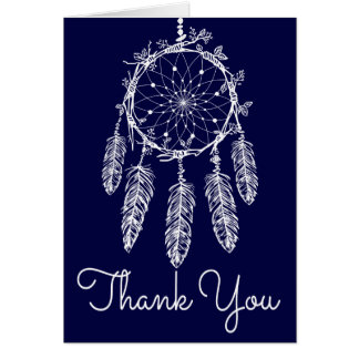 Boho Navy Blue Thank You Tribal  Dream Catcher Card