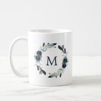 Boho Navy Peony Floral Wreath | Monogram Coffee Mug
