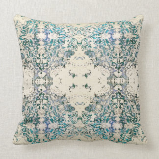 Boho Ornate Fancy India Blue Bohemian Pillow