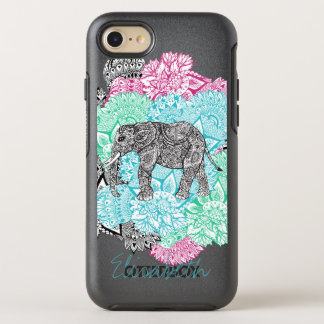 Boho paisley elephant handdrawn floral monogram OtterBox symmetry iPhone 8/7 case