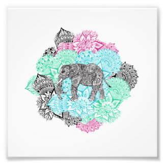 Boho paisley elephant handdrawn pastel floral art photo