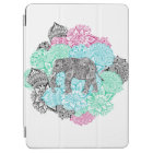 Boho paisley elephant handdrawn pastel floral iPad air cover