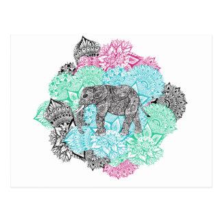 Boho paisley elephant handdrawn pastel floral postcard