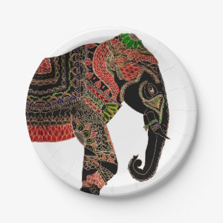 Boho paisley Indian ornate elephant Paper Plate