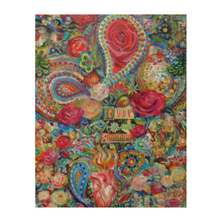 """Boho Paisley Love One Another 11"""" x 14"""" Wood Canvases"""
