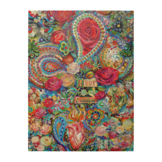 """Boho Paisley Love One Another 18"""" x 24"""" Wood Canvas"""