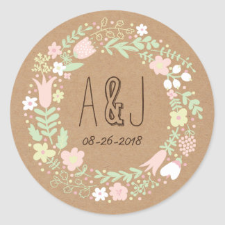 Boho Pastel Floral Wreath Rustic Wedding Round Sticker