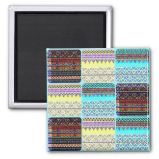 Boho Patchwork of Tribal Ethnic Stripes Magnet