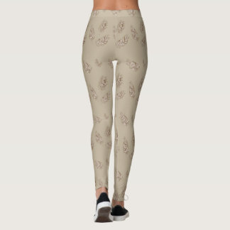 boho pattern with feathers leggings