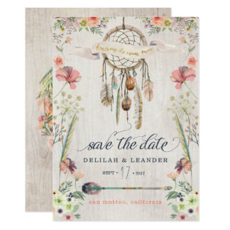 Boho Photo Dreamcatcher Save the Date Cards