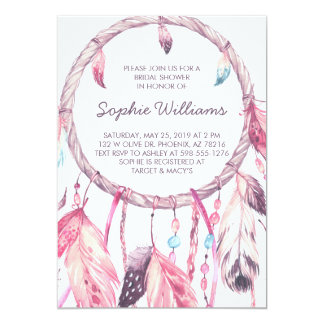 Boho Pink Dreamcatcher Bridal Shower Card