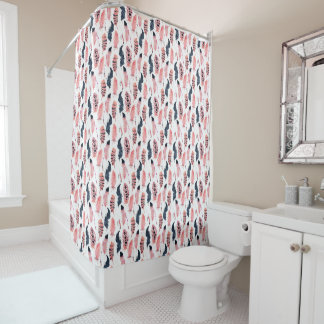 Boho Pink Feathers Shower Curtain