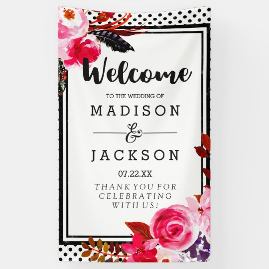 Boho Pink Floral & Black Polka Dot Wedding Welcome Banner