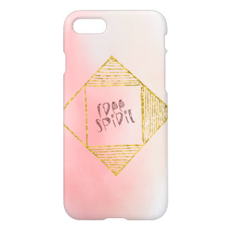 "Boho Pink Ombre Gold Tribal Script ""Free Spirit"" iPhone 7 Case"