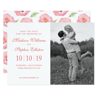 Boho Pink Rose Floral Watercolor - Save the Date Card
