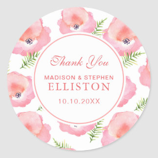 Boho Pink Rose Floral Watercolor | Thank You Classic Round Sticker