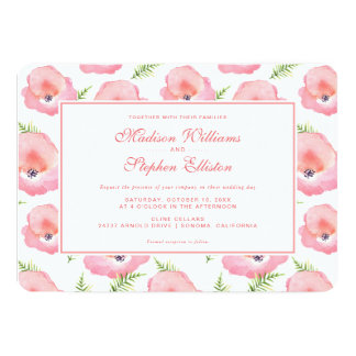 Boho Pink Rose Floral Watercolor - Wedding Card