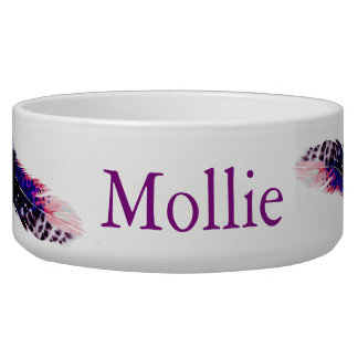 Boho Pink Spotted Watercolor Feathers Pet's Name Pet Food Bowl