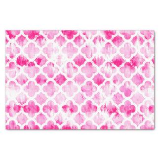 Boho pink tie dye watercolor quatrefoil pattern tissue paper