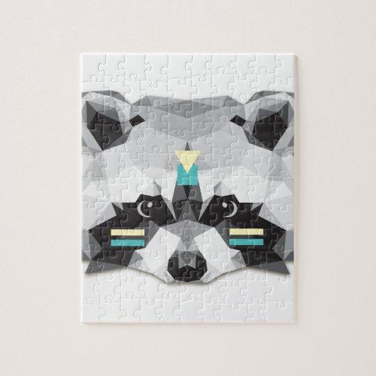 Boho poly raccoon jigsaw puzzle