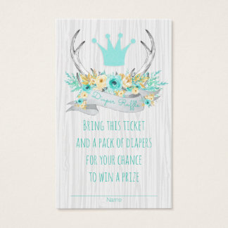 Boho Princess Antler Tribal Diaper Raffle Tickets