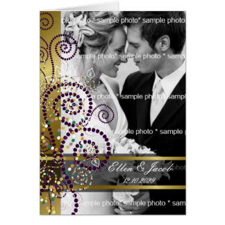 Boho Purple Spirals Gold Thank You Photo Card
