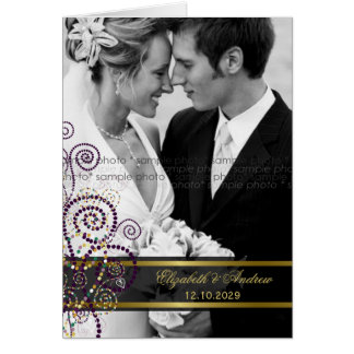 Boho Purple Spirals Wedding Photo Thank You Card