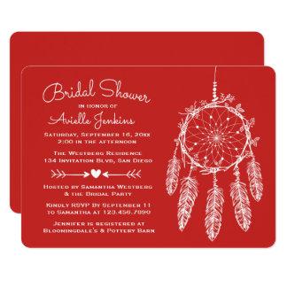 Boho Red Bridal Shower Dream Catcher Tribal Card