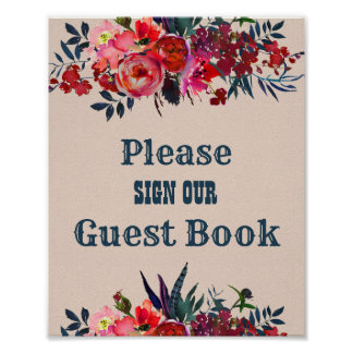 Boho Red Floral Guest Book Wedding Sign