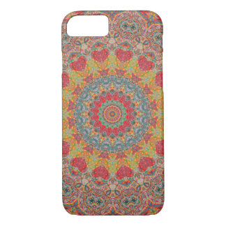 Boho Red, Gold, and Light Blue Tapestry Mandala iPhone 8/7 Case
