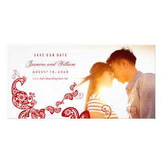 Boho Red Peacock Paisley Save The Date Photo Card