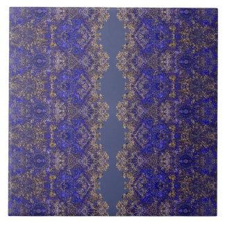 Boho-Romantic laced golden-blue ornament Tile