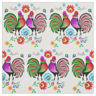 Boho Rooster Floral Pattern Fabric