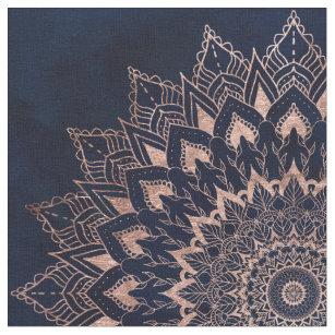 Boho rose gold floral mandala navy blue watercolor fabric