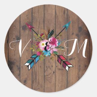 Boho Rustic floral arrow wedding stickers