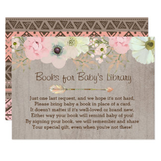 Boho Rustic Floral Feather Baby's Library Insert Card