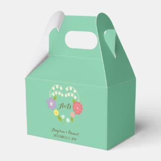 Boho Rustic Floral Wreath Wedding (Mint) Favor Box