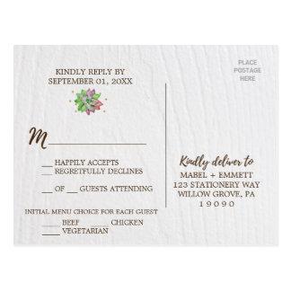 Boho Rustic Mint Floral Succulent Menu Choice RSVP Postcard