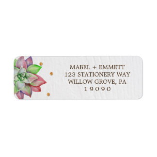 Boho Rustic Pink and Mint Floral Succulent Wedding Return Address Label