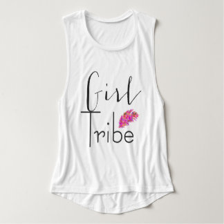 "Boho Sassy ""Girl Tribe"" Hot Pink Feather Tank Top"