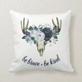 Boho Skull and Blue Peonies | Be Brave, Be Kind Throw Pillow