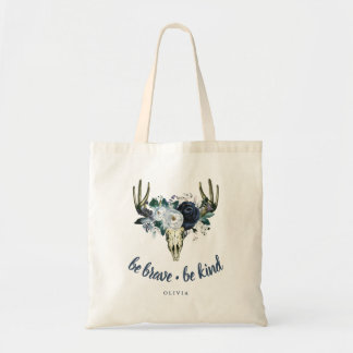 Boho Skull and Blue Peonies | Be Brave, Be Kind Tote Bag