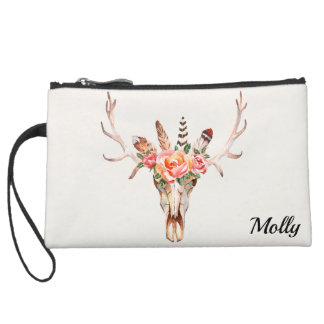 Boho Skull watercolor Clutch Custom NAME